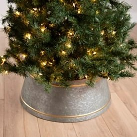 Gold and Galvanized Metal Tree Collar