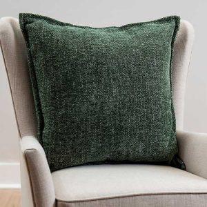 Green Chenille Texture Flange Pillow