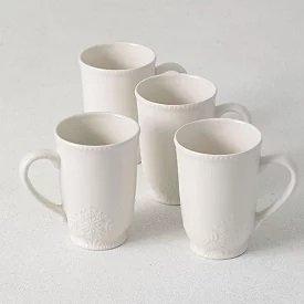 White Ceramic Snowflake Embossed Mugs Set of 4