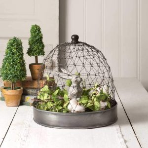CTW Home Collection French Chicken Wire Cloche with Tray
