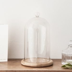 Lights4fu. Glass Cloche Bell Jar Display Dome with Bamboo Base