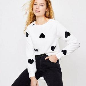 Heart Faux Fur Sweatshirt