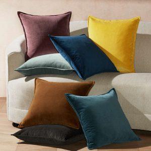Brenner Teal Velvet Pillow with Feather-Down Insert 20