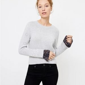 Friday Favorites Pointell Mixed Media Sweater Grey