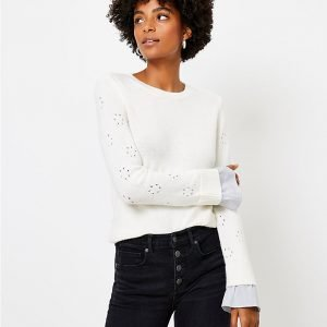 Friday Favorites Pointell Mixed Media Sweater Ivory