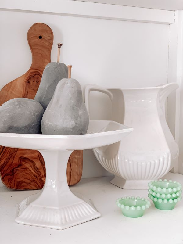 vintage white ironstone stand